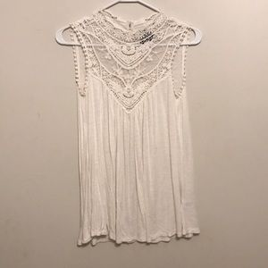 Cream Lacey High Neck Dress - Size S